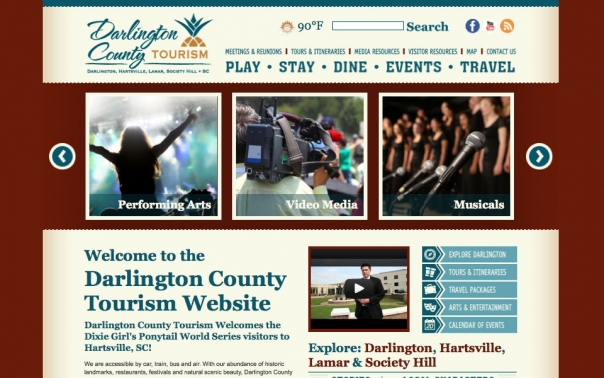Darlington County Tourism Website design and web development
