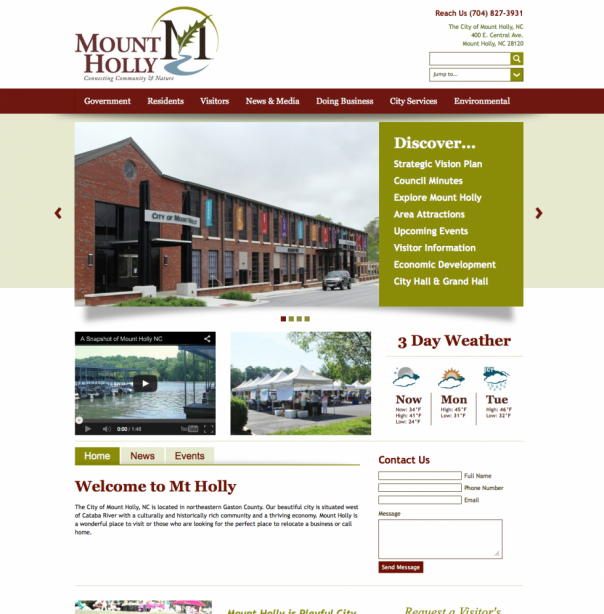 Mount Holly, NC Municipal Website Design and Development