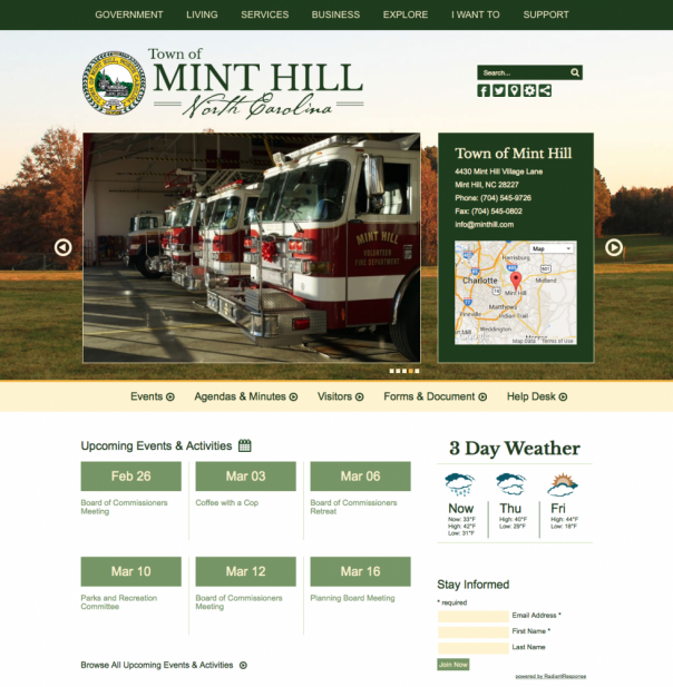 Town of Mint Hill, NC Municipal Website Design and Development