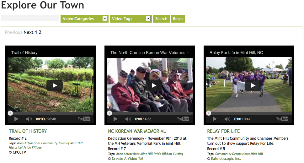 Municipal website video gallery